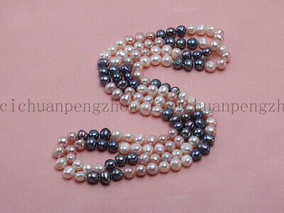 Long 50'' Natural 7-8mm Multicolor Freshwater Cultured Baroque Pearl Necklace