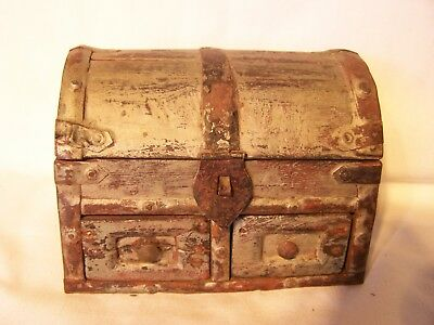 Vintage Antique Box Trunk Chest Timber Wooden Jewellery Box
