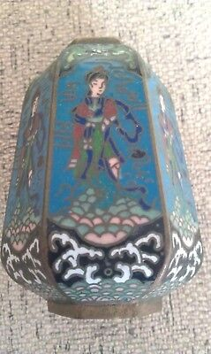 antique Japanese Brass Cloisonne 10 cm high   enamelled