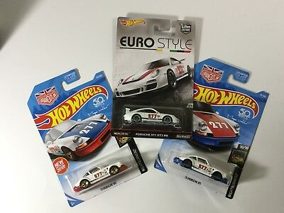 New Mattel Hot Wheels Lot of 3 Porsche 911 Diecast: (Nightburnerz & Euro Style)