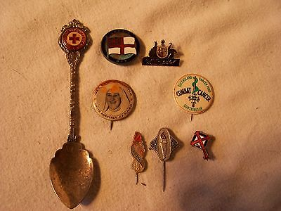 Vintage Red Cross Pins Badges Spoon Jacks Day Red Shield Appeal Sister Dorothea