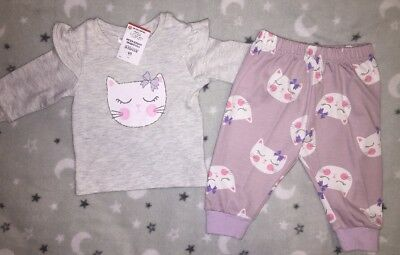 🦋New With Tags Size 00/3-6 Baby Girl Adorable Kitten Pyjamas🦋