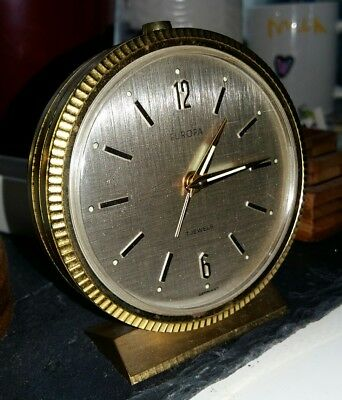 Stylish Vintage EUROPA Brass 7 Jewels German Alarm clock Machine turned