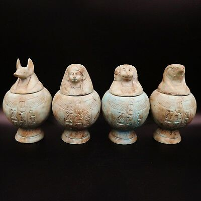 Fine Antique Egyptian Faience Set 4 Canopic Jars (Organs Storage Statues) LARGE