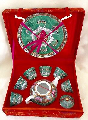 Vintage Chinese Miniature Tea Set In Red Silk Boxr