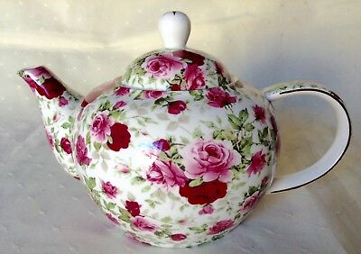 MAXWELL WILLIAMS Fine Bone China Rose Bud Tea Pot Floral Red Pink