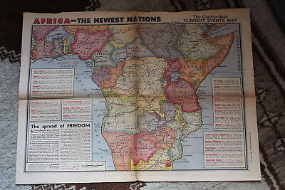 Vintage QLD Courier Mail 1964 Map AFRICA Insert 60s Brisbane Newspaper