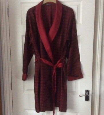 Vintage Retro Marks and Spencer Mens Dressing Gown Robe Smoking Jacket Red Check
