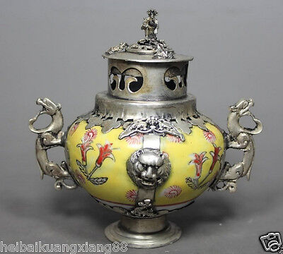 Chinese Old Yellow Porcelain Handwork Painting Dragon Incense Burner