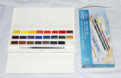 Winsor & Newton Cotman Water Colour Studio Set (24 Whole Pans)& No.1 Sable Brush
