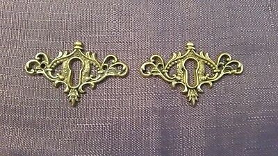 Vintage Heirloom Brass Ornate Brass Skeleton Keyhole Escutcheon Plate Set