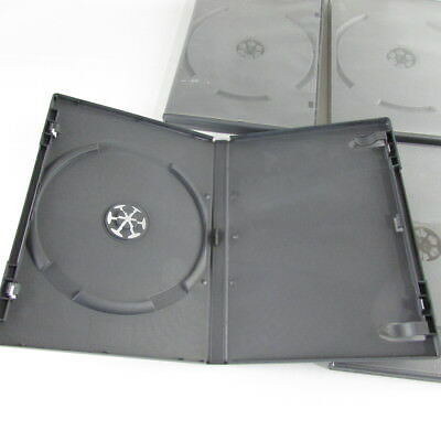 Lot of 4 Generic Black Single 14mm CD DVD Storage Case Holder Box + Plastic Wrap