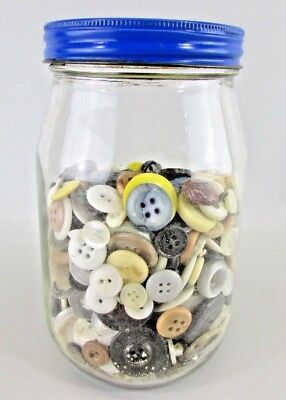 MIXED LOT of VINTAGE Buttons ALL TYPE SIZE COLOR almost 1 Pound (buttons only)