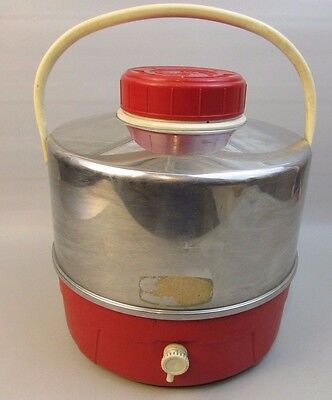 SUPER RARE Vintage Red and chrome Metal Thermos Picnic Jug With Dispenser Spout