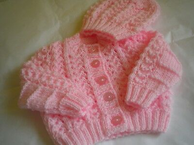 Hand Knitted Pink Baby Set: Cardigan with matching Hat- size 0 - 3 months