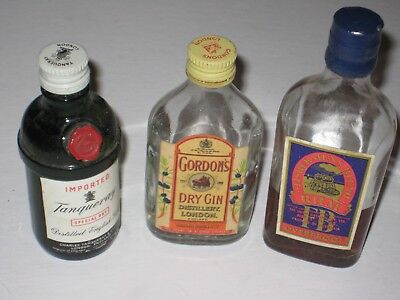 Small collectable assorted mini bottles Gin x 2 Rum x 1