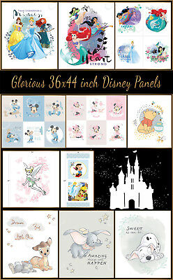 Disney Fabric Licensed Large 100% Cotton Craft  / Quilting Panels