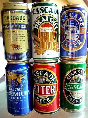 Collectable beercans -  Set of 6 assorted Cascade beer cans