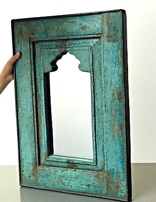 ANTIQUE/VINTAGE INDIAN, EARLY 20th c.TEAK MUGHAL MIRROR. DISTRESSED TURQUOISE.