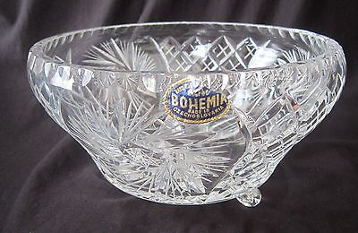 Bohemia Lead Crystal Pinwheel Footed Bowl -Blue Sticker - 7.25 in. New Old Stock