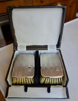 Solid Silver Backed Brushes In Original Box/case - Birmingham 1949