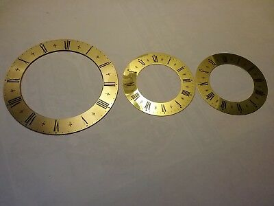 Three  Brand New Solid Brass Decorative Clock Chapter Rings With Roman Numerals.