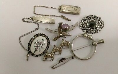 Lot of 8 Lovely Vintage Sterling Silver Pins Brooches Belt Loops NOT SCRAP