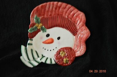 Fitz And Floyd Gift Gallery Snowman Face Platter