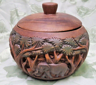 "Wood African Art Carved Bowl with LID-Elephant &Trees 8"" HARDWOOD - vintage"