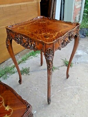 1920 French Marquetry inlaid and Pierce Carved End Side Lamp Tab
