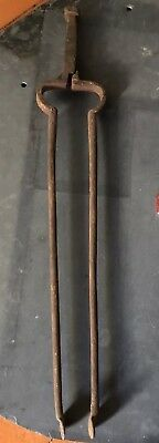 Antique Early Wrought Iron Fireplace Tongs primitive coal tool