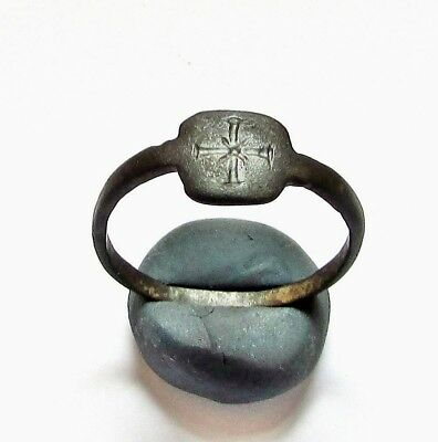 "Ancient Roman  Bronze Ring."" Cross """