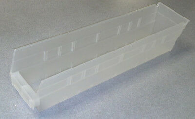 "Akro-Mils 30128 Clear Bins (17 7/8"" x 4 1/8"" x 4"") Used Lot of 12"