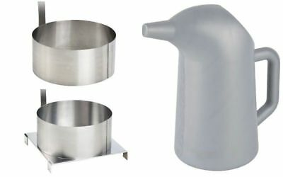 """Funnel Cake 2 Qt/64 oz Batter Pouring Pitcher & 2 Stainless Steel 8"""" Mold Rings"""