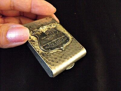 VINTAGE 1930'S CATALINA ISLAND, CA SOUVENIR CASINO MATCHBOOK HOLDER K&O Co METAL