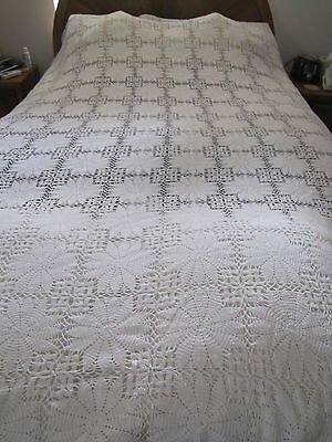 Crochet Bed Cover or Table Cloth - White