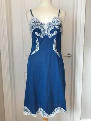 Vintage Petticoat Slip Nylon Blue Lace Trims Burlesque Wolsey Vanity Fair S 36
