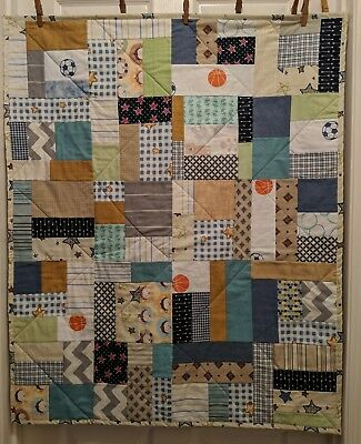 Handmade Baby Boys Quilt Low Volume Multi Color 40x33