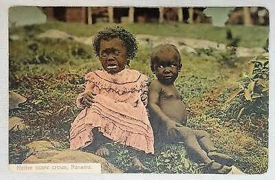 "Black Americana Racist Postcard ""Native Scare Crows Panama"""