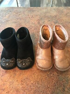 Lot Of 2 Pairs Of Toddler Girls Winter Boots Size 8 Black Cat, Pink Sequin