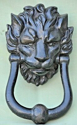 Stunning Heavy Duty Large Antique Old Cast Iron Door Knocker Lion's Head