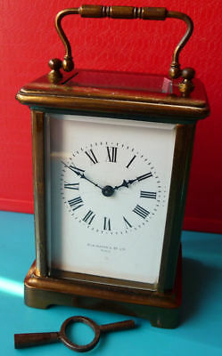 Elkington Carriage Clock - Brass Case Bev Glass + Box - SEE 12 PICS + VIDEO