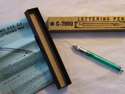 Vintage C-Thru Lettering Pen in Box with Instructions