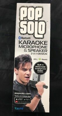 PopSolo Bluetooth Karaoke Microphone & Speaker Retractable Smartphone Holder
