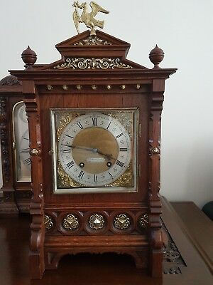 Antique LENZKIRCH Carved Brass Oak Bracket Clock 1887 CLEANED AND SERVICED