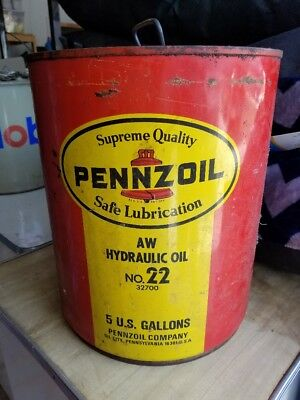 Vintage PENNZOIL AW Hydraulic Oil 5 Gallon can