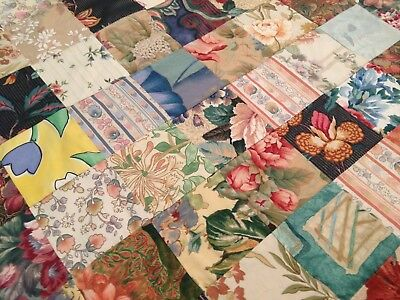 Lovely Vintage Retro Hand Made Patchwork Throw – Gorgeous Fabrics