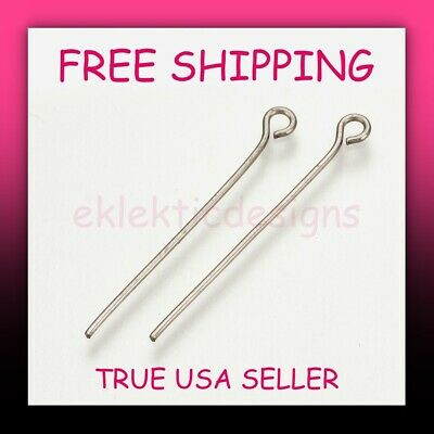 30mm 25pcs .7mm 21ga 304 Surgical Stainless Steel Eyepins Eye Pins Findings