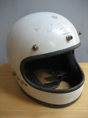Vintage White Bell Star 120 Full Face Motorcycle Helmet Size 7 1/4 1971 As Is