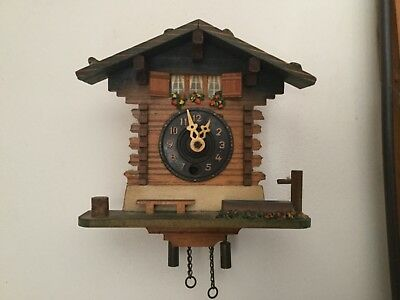 Vintage Swiss Style Wind Up Wall Clock No Key No Pendulum Untested Spares Repair